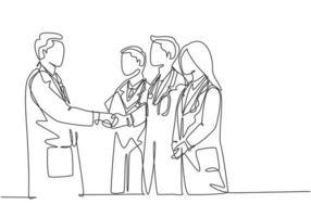 um desenho de linha única contínua do chefe do hospital dando um aperto de mão de parabéns a um grupo de médicos pelas realizações. conceito de prêmio médico linha única desenhar ilustração vetorial de design gráfico vetor