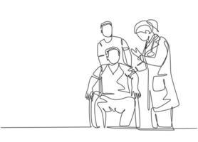 um desenho de linha única contínua de uma jovem médica dando uma sessão de consulta ao paciente em cadeira de rodas. conceito de tratamento de saúde médica ilustração vetorial desenho desenho de linha única vetor