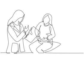 desenho de linha única contínua única de jovem médica examinando paciente que reclama sobre a condição de seu estômago no hospital. ilustração em vetor design desenho de uma linha de exame médico conceito