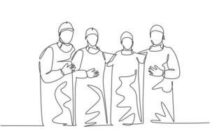 único grupo de desenho de linha única contínua de médicos cirurgiões em pé e posando depois de uma cirurgia operacional no hospital. conceito de tratamento de cuidados médicos uma linha desenhar ilustração vetorial vetor