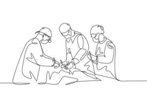 único grupo de desenho de linha única contínua do médico cirurgião da equipe que faz a operação de cirurgia para o paciente com condição crítica. operação cirurgia conceito uma linha desenho ilustração vetorial vetor