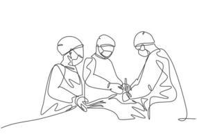 único grupo de desenho de linha única contínua de médico cirurgião da equipe que faz a cirurgia para o paciente crítico na sala de operação cirúrgica. ilustração em vetor design de desenho de uma linha de cirurgia médica conceito