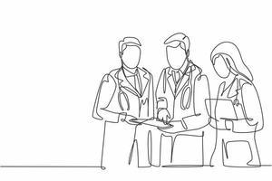 um desenho de linha contínua do médico sênior dando orientação para os jovens médicos do sexo masculino e feminino no corredor do hospital. conceito de saúde hospitalar ilustração vetorial desenho desenho de linha única vetor