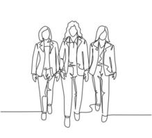 um desenho de linha contínua de jovens gerentes caminhando juntos ordenadamente em uma linha na rua da cidade ir para o escritório. conceito de trabalhadores urbanos em trânsito, linha única, desenho, ilustração vetorial gráfica vetor