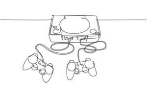 um desenho de linha contínuo do jogador de videogame clássico retro antigo com joystick. conceito de item de jogo de console vintage linha única desenhar ilustração vetorial de design gráfico vetor