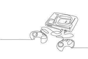 único desenho de linha contínua do jogador de videogame clássico retro antigo com cassete. conceito de item de jogo de console vintage ilustração em vetor desenho gráfico de uma linha