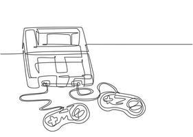 um desenho de linha contínua do jogador de videogame clássico retro antigo com controlador. conceito de item de jogo de console vintage desenho de linha única desenho de ilustração vetorial vetor