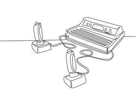 um conjunto de desenho de linha contínuo de máquina de jogador de videogame de console clássico retrô com joystick. conceito de item de jogo de arcade vintage gráfico de ilustração vetorial desenho de linha única vetor
