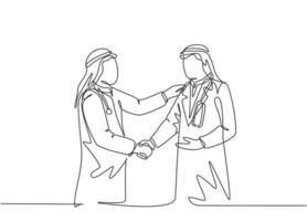 único desenho de linha contínua do jovem empresário muçulmano apertar a mão de seu médico pessoal. empresários árabes do Oriente Médio com shmagh, kandura, thawb, pano de manto. ilustração em vetor desenho desenho de uma linha