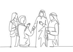 um desenho de linha contínua de um jovem homem de negócios muçulmano fazendo uma reunião com o cliente. empresários da Arábia Saudita com shemag, kandura, lenço, roupas keffiyeh. ilustração em vetor desenho desenho de linha única