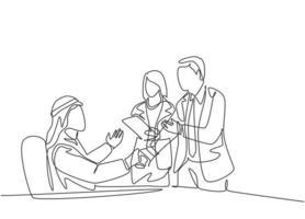 um desenho de linha contínua do aperto de mão do jovem gerente muçulmano para parabenizar o novo trabalhador. empresários da Arábia Saudita com shemag, lenço, roupas keffiyeh. ilustração em vetor desenho desenho de linha única