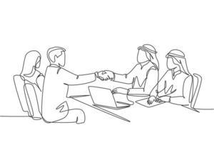 um desenho de linha contínua de um jovem homem de negócios muçulmano aperta a mão de seu gerente de empresa. empresários da Arábia Saudita com shemag, kandura, lenço e roupas. ilustração em vetor desenho desenho de linha única