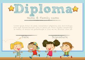Modelo de diploma com as crianças no fundo vetor