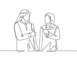 um desenho de linha contínua de jovens trabalhadores muçulmanos do sexo masculino e feminino dão o polegar para cima para celebrar a promoção no emprego. roupas islâmicas hijab, lenço, keffiyeh. ilustração em vetor desenho desenho de linha única