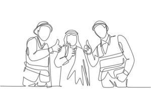 um desenho de linha contínua do jovem empresário muçulmano e empreiteiro dando polegares para cima juntos. roupa islâmica shemag, kandura, lenço keffiyeh. ilustração em vetor desenho desenho de linha única
