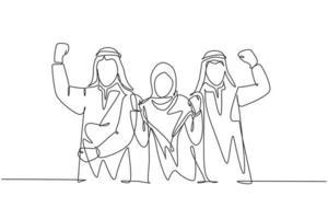 um único desenho de linha da jovem equipe de marketing muçulmana feliz mostra o trabalho em equipe. empresários da Arábia Saudita com shmag, kandora, lenço na cabeça, thobe, ghutra. ilustração em vetor desenho desenho em linha contínua