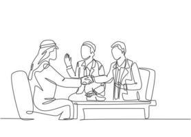 um desenho de linha contínua do projeto de negócio de homem de negócios jovem muçulmano em reunião de negócios. empresários da Arábia Saudita com shemag, lenço, pano keffiyeh. ilustração em vetor desenho desenho de linha única