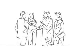 um desenho de linha contínua do aperto de mão do homem de negócios jovem muçulmano com seu colega. empresários da Arábia Saudita com shemag, kandura, lenço e keffiyeh. ilustração em vetor desenho desenho de linha única
