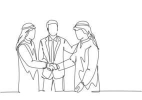 um desenho de linha contínua do jovem homem de negócios muçulmano aperta a mão de seu colega. empresários da Arábia Saudita com shemag, kandura, lenço, roupas keffiyeh. ilustração em vetor desenho desenho de linha única