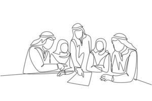 um desenho de linha contínua de jovens empresários muçulmanos discutindo o projeto de negócio juntos durante uma reunião de equipe. shemag de roupas islâmicas, lenço, hijab. ilustração em vetor desenho desenho de linha única