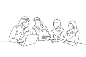 um único desenho de linha do jovem empresário muçulmano feliz discutindo juntos o projeto de negócio. pano da Arábia Saudita shmag, kandora, lenço na cabeça, thobe, hijab. ilustração em vetor desenho desenho em linha contínua