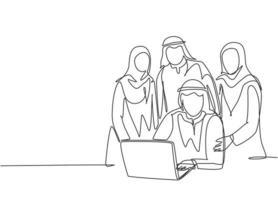 um único desenho de linha de jovens membros da equipe de startups muçulmanos felizes posam juntos solidamente. pano da Arábia Saudita shmag, kandora, lenço na cabeça, thobe, ghutra. ilustração em vetor desenho desenho em linha contínua