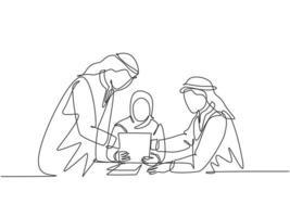 um único desenho de linha de jovens gerentes muçulmanos felizes discutindo e planejando a política da empresa. pano da Arábia Saudita shmag, hijab, lenço na cabeça, thobe. ilustração em vetor desenho desenho em linha contínua
