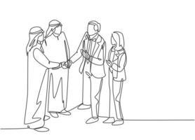 um desenho de linha contínua do jovem homem de negócios muçulmano aperta a mão de seu parceiro de negócios. empresários da Arábia Saudita com shemag, lenço, roupas keffiyeh. ilustração em vetor desenho desenho de linha única