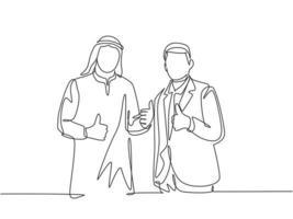 um único desenho de linha de jovem empresário muçulmano feliz fazer colaboração com empresa estrangeira. pano da Arábia Saudita shmag, kandora, lenço na cabeça, thobe. ilustração em vetor desenho desenho em linha contínua