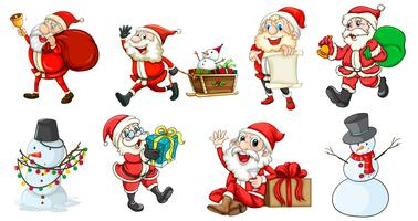 Papai Noel e os bonecos de neve vetor
