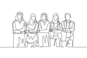 um único desenho de linha de jovens gestores muçulmanos felizes do sexo masculino ande de mãos dadas. pano da Arábia Saudita shmag, kandora, lenço na cabeça, thobe. ilustração em vetor desenho desenho em linha contínua