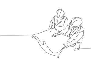 Um único desenho de linha contínua do jovem gerente da empresa faz o controle de qualidade para esboçar o projeto do blueprint. construção de conceito de negócio de arquitetura. ilustração de design gráfico vetorial desenho de uma linha vetor