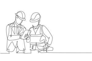 um único desenho de linha do jovem gerente de construção fazer breve briefing para o coordenador do construtor. construção de conceito de negócio de arquitetura. ilustração gráfica de vetor de desenho de linha contínua