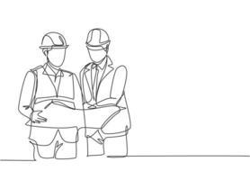 um único desenho de linha do jovem gerente ouvindo a apresentação do conceito de construção do arquiteto. construção de conceito de negócio de arquitetura. ilustração de desenho de desenho de linha contínua vetor