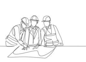único desenho de linha contínua do jovem designer de esboço de esboço, reunindo-se com o arquiteto para discutir o projeto de construção. construção de conceito de negócio de arquitetura. ilustração de desenho de desenho de uma linha vetor