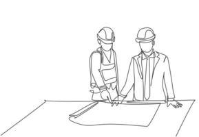 um único desenho de linha do jovem arquiteto explicando o projeto de construção do esboço para o gerente. construção de conceito de negócio de arquitetura. ilustração de desenho de desenho de linha contínua vetor