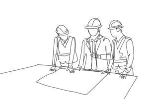 uma equipe de desenho de linha contínua de jovens arquitetos apresentando o projeto do esboço do esboço da construção ao gerente. construção de conceito de negócio de arquitetura. ilustração de desenho de desenho de linha única vetor