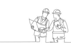 um único desenho de linha do jovem arquiteto e engenheiro discutindo o projeto de planta de construção de edifícios. construção de conceito de negócio de arquitetura. ilustração de desenho de desenho de linha contínua vetor