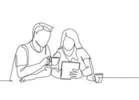 único desenho de linha contínua do jovem casal masculino e feminino, discutindo juntos as contas mensais das famílias. após o conceito de vida do casamento. ilustração vetorial desenho gráfico de uma linha vetor