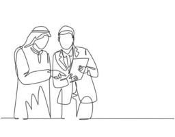 único desenho de linha contínua de jovem muçulmano, analisando e discutindo o relatório anual de negócios com seu colega. pano do Oriente Médio árabe shmagh, descongelar, robe. ilustração em vetor desenho um desenho