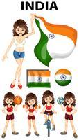 Garota indiana fazendo esporte diferente vetor