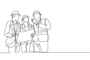 único desenho de linha contínua do jovem arquiteto discutindo o projeto de construção com o gerente do supervisor. construção de conceito de negócio de arquitetura. ilustração gráfica de vetor de desenho de uma linha