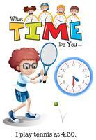 Um garoto jogando tênis às 4:30 vetor