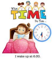 Uma garota acorda às 6:30 vetor