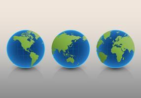 Conjunto de mapa internacional globo 3D vetor