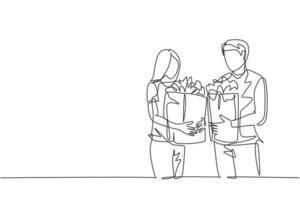 única linha contínua desenho jovem casal feliz segurando um saco de papel de mercearia depois de fazer compras no supermercado juntos. comprando o conceito de bens de uso diário. ilustração de design gráfico vetorial desenho de uma linha vetor