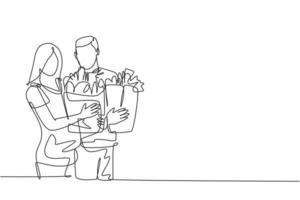 uma única linha desenho jovem casal romântico feliz segurando sacolas de papel depois de comprar produtos diários no supermercado. conceito de compra de varejo comercial. ilustração de desenho de desenho de linha contínua vetor