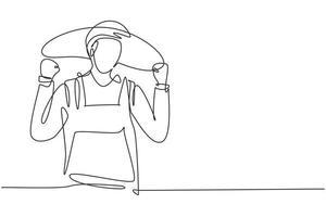 único um fazendeiro de desenho de linha com celebrar o gesto usando chapéu de palha e uniforme da fazenda para trabalhar na fazenda. conceito de negócio de sucesso. linha contínua moderna desenhar design gráfico ilustração vetorial vetor