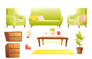 Conjunto de design de móveis. Sofá moderno e cadeiras com um cobertor, travesseiros e ao lado de uma mesa de café de madeira. Vetorial, caricatura, ilustração