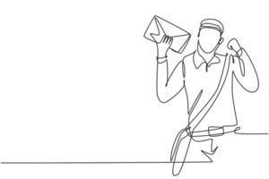 Carteiro de desenho de linha única contínua com gesto de celebração, chapéu, bolsa tipo estilingue e envelope porta uniforme para entrega no endereço residencial. ilustração em vetor desenho gráfico dinâmica de uma linha